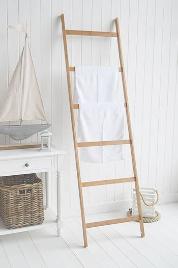bamboo towel clothes blanket ladder rail   white