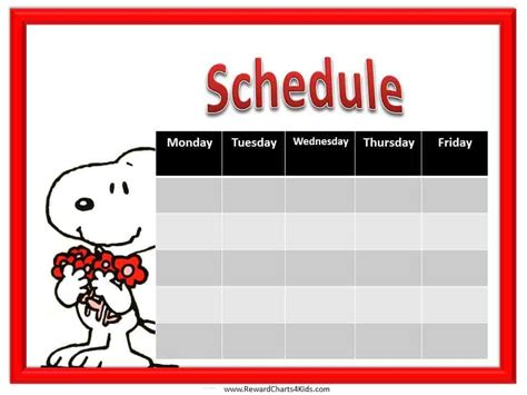 kids schedule template  weekly schedule template