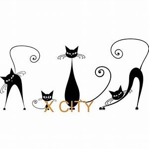 Black Cat Family Cute Cartoon Silhouette Wall Art Decal