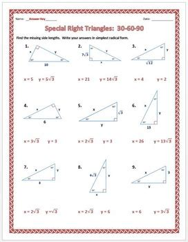 special right triangles 30 60 90 practice worksheet by dr