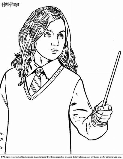 Potter Harry Coloring Pages Hermione Cartoon Sheets