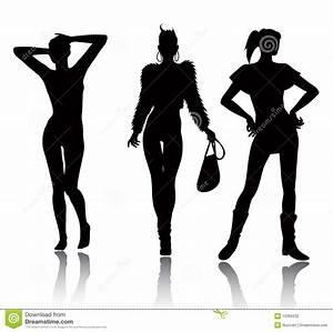 Fashion Woman Silhouette Set Stock Vector - Image: 13305032