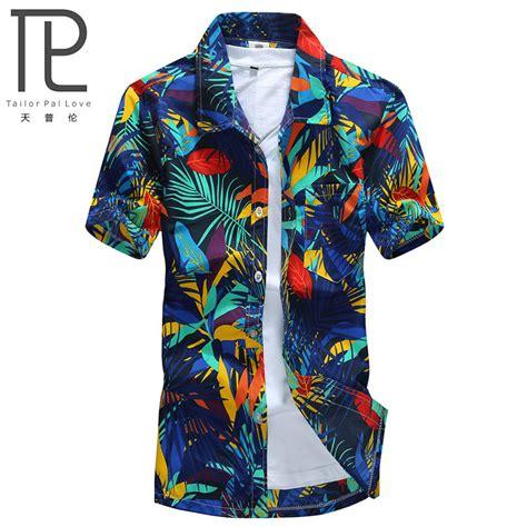 Mens Hawaiian Shirt Male Casual camisa masculina Printed Beach Shirts Short Sleeve brand ...