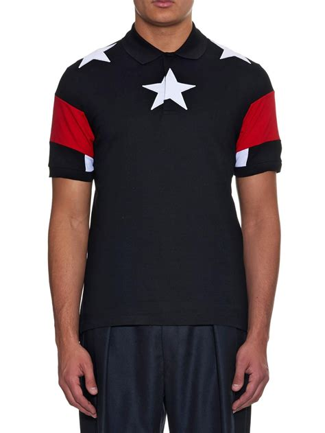 Givenchy Cuban-Fit Stars And Stripes Polo Shirt in Black