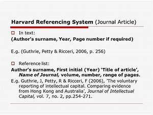 Harvard style referencing example essay