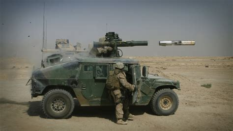 humvee view vehicle mounted anti tank missiles think defence