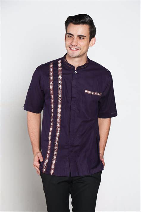 jual til keren kece baju koko batik muslim pria kualitas premium tn 37 ungu tua di