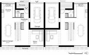 plan maison jumelee ooreka With plan maison mitoyenne par le garage