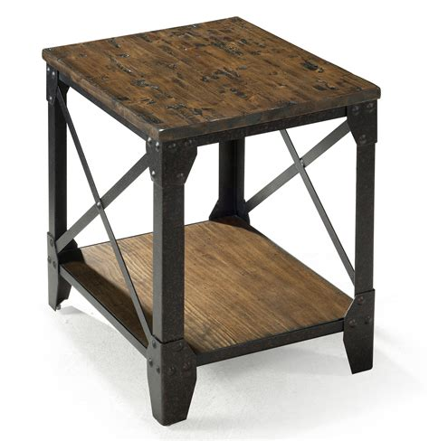 wood and metal end tables small rectangular end table with rustic iron legs by