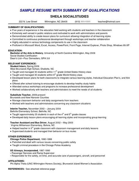 sle resume summary exles summary for resume with no