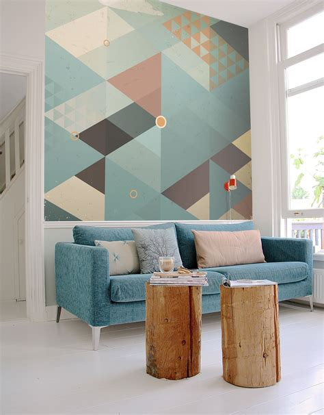 Wall mural abstract retro geometric with clouds abstract