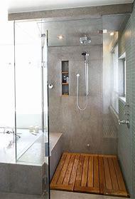 Bathroom Shower Tile and Wood Floor