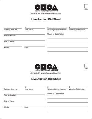 live bid auction coca auction forms
