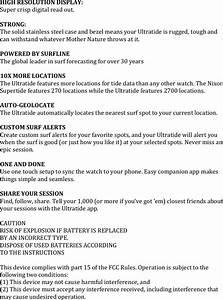 Nixon A476 The Ultratide User Manual The Ultratide Specs