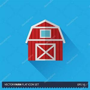 Red Barn vector flat long shadow icon on blue background ...