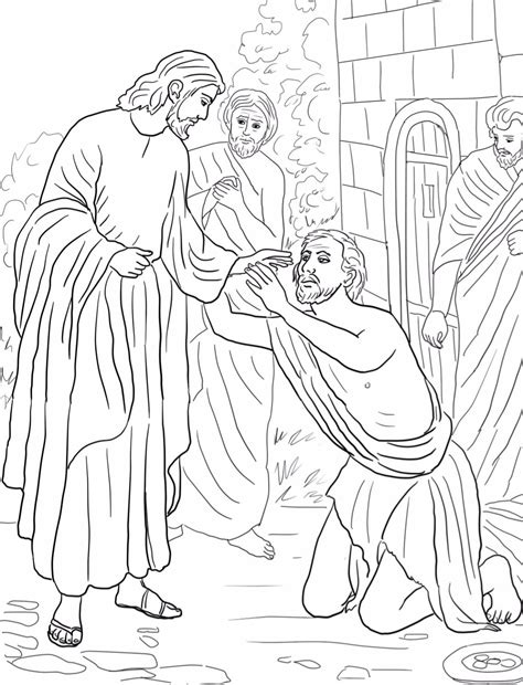 Jesus Heals Paralytic Man Page Coloring Pages