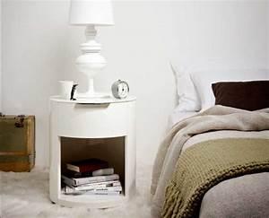 Nachttisch Rund Weiß : wundersch n nachttisch rund wei lackiert mit einer schublade und offene ablagefach ~ Indierocktalk.com Haus und Dekorationen