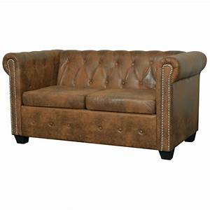 acheter vidaxl canape chesterfield 2 places cuir With canape chesterfield cuir solde