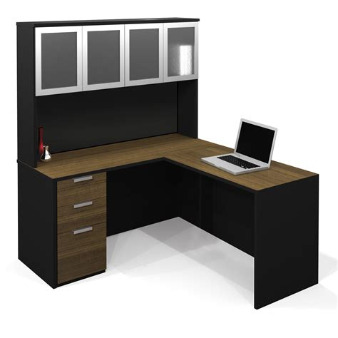 black l shaped office desk l shaped computer desk made from teak wood material mixed