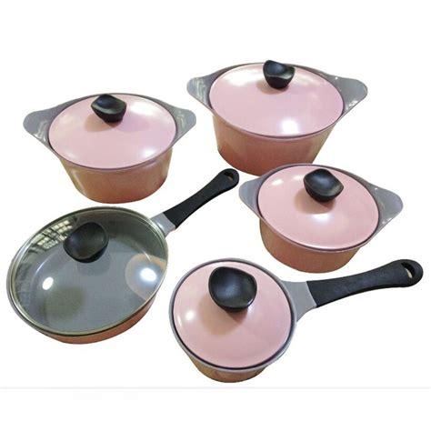 cookware pink non stick sets korea ceramic essentials iron cast pcs kitchen alibaba