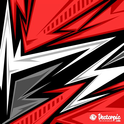 Abstract Racing Stripes Background With Red And White