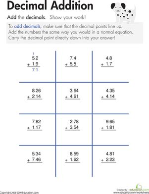 decimal addition worksheet education