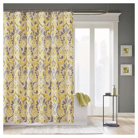 milan ikat print shower curtain gray yellow target
