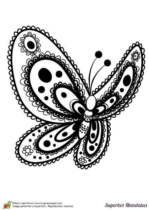 Coloriage D'un Superbe Mandala En Forme De Papillon Pas