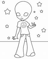 Alien Coloring Pages Hippie Print Printable Cute Cool Aliens Toy Template Story Hippies Cartoon Templates Getdrawings Bestcoloringpagesforkids Popular sketch template