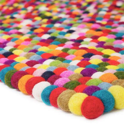 rectangle multi coloured felt ball rug cult uk