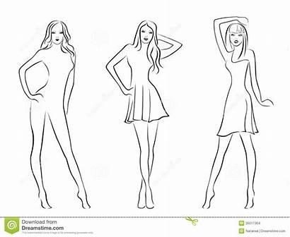 Models Illustration Elegant Three Drawing Vector Hand