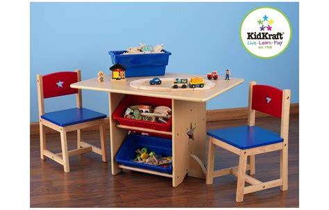 chambre toute blanche table et 2 chaises enfant bleu kidkraft 26912