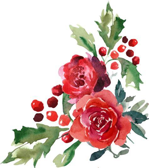 watercolor flower flor flores cornerdesign christmas
