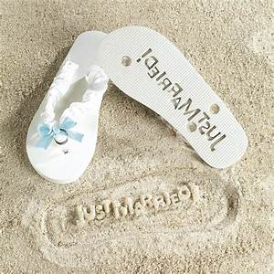 Just married white bride flip flops something blue wedding for Just married gifts honeymoon