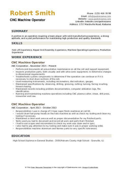 cnc machine operator resume sles qwikresume