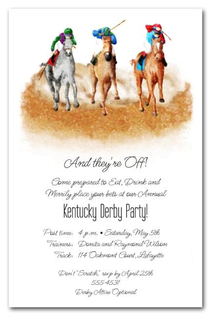 finish horse racing invitations kentucky derby party