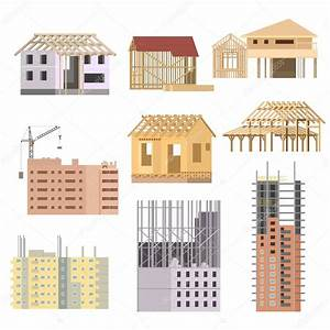 Vector flat Building under construction. Building house ...