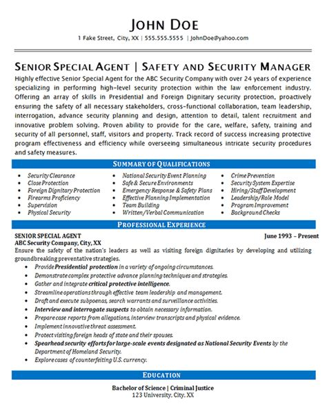 Security Resume Sles by Security Resume Exle Special