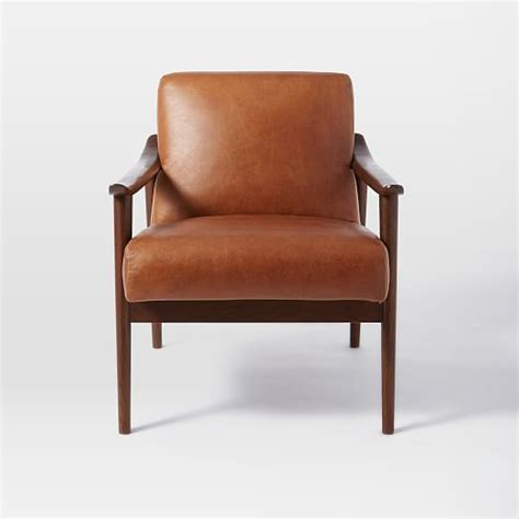 Midcentury Leather Show Wood Chair  West Elm
