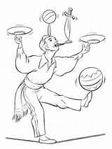 Juggler Jongleur Kleurplaat Leukekleurplaten sketch template