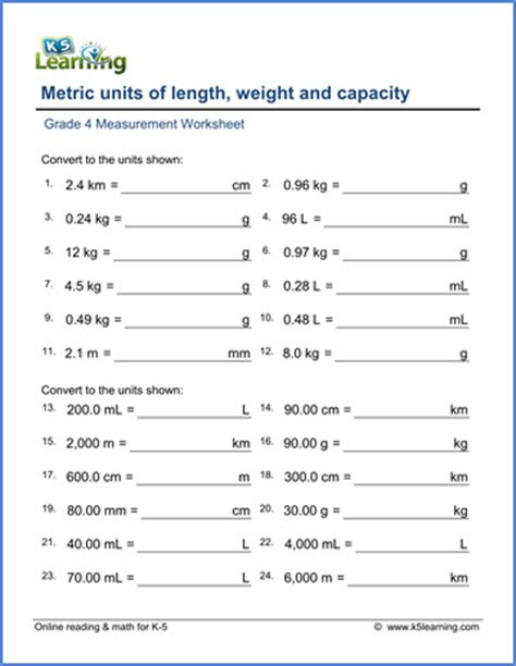 grade  math worksheet convert lengths weights