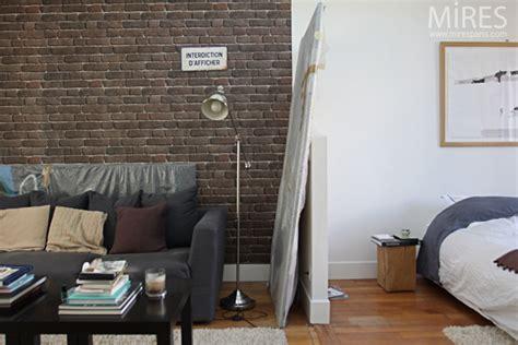 Chambre-salon Avec Un Mur De Briques Brunes. C0643