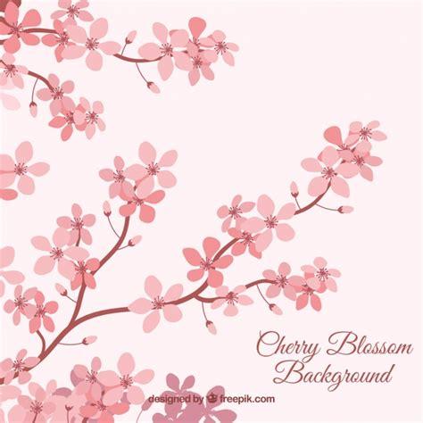 foto de Fundo de flor de cerejeira em estilo plano Vetor Grátis