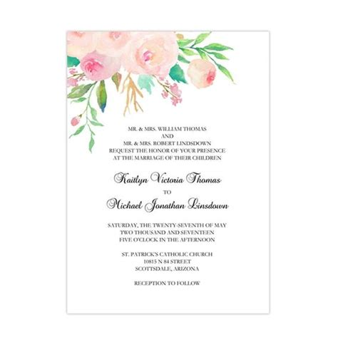 printable wedding invitation template watercolor floral