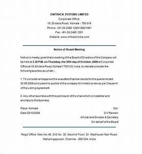 Notice templates 104 free word pdf format download for Notice of board meeting template