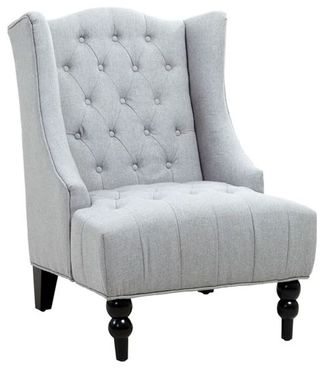 clarice wingback tufted accent chair silver