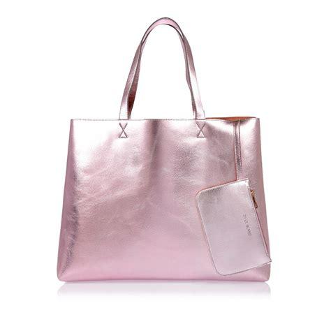 river island metallic pink reversible beach shopper bag
