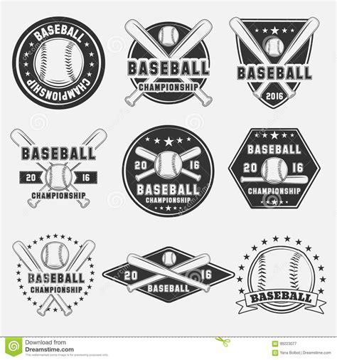 set of vintage baseball logo icon emblem badge and design elements stock vector