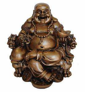 Happy Golden Chinese Buddha Statue on Dragon Chair