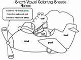 Coloring Vowel Short Worksheets Theme Summer sketch template